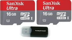 Sandisk Ultra micro SDHC Micro SD UHS-1 TF Memory Card 16GB 16G (Two Pack 16GB x2 =32GB) Class 10 w/ (1) Micro SD to Sd Adapter and Everything But Stromboli Memory Card Reader ** You can find more details by visiting the image link. (This is an affiliate link and I receive a commission for the sales)