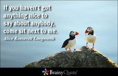If you haven't got anything nice to say about anybody, come sit next to me. - Alice Roosevelt Longworth