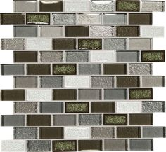 """Discount Glass Tile Store - Crystal Shores - Emerald Isle 1"""" x 2"""" Brick Glass Mosaic Tile, $15.99 (http://www.discountglasstilestore.com/crystal-shores-emerald-isle-1-x-2-brick-glass-mosaic-tile/)"""