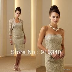 2013 Free Shipping Three Quarter Sweetheart Knee length Evening Dress Champagne Mother Of The Bridal Lace Dress With Jacket on AliExpress.com. $140.00