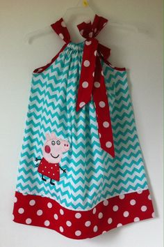 Custom Made Pillowcase Dress Turquoise Chevron with by likhaan
