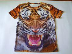 Polera cool impresión 3D diseño tigre