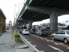 名古屋市南区内の国道1号 名古屋高速が頭上を走る。(Japanese National Route 1 Nagoya)