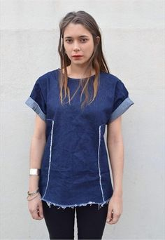 Oversized Frayed Denim T-Shirt