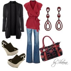 """""""pretty red with black"""" by shauna-rogers on Polyvore"""