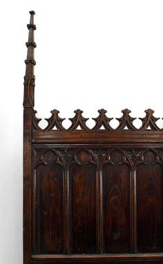 For Sale on - Nineteenth century Gothic Revival full size bed composed of walnut and featuring traditional Northern Gothic carvings and finial posts. Gothic Bed, Victorian Bed, Gothic Furniture, Dream Furniture, Dreams Beds, Gothic Architecture, New Room, Art Decor, Home Decor