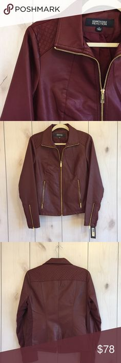Women's Faux Leather Jacket Fabulous faux leather jacket from Kenneth Cole Reaction Collection. Gorgeous burgundy color. Gold zippers, zipped functional pockets, rib knit block on both sides and quilted design on the shoulders. BNWT. Kenneth Cole Reaction Jackets & Coats