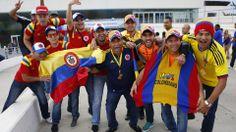 Colombian fans pose before the FIFA Fan Fest