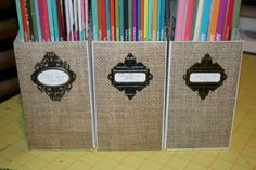Burlap and Metal.  Tim Holtz frames and burlap scrapbook paper from Hobby Lobby