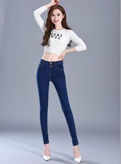 2017 new style skinny jeans women high waist jeans female blue black denim pencil pants lady fashionable Jeans trousers leggings