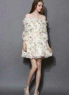 Beige printed off shoulder dress www.UsTrendy.com #beige #printed #dress #offshoulder #chic #summer #ootd #cute #love