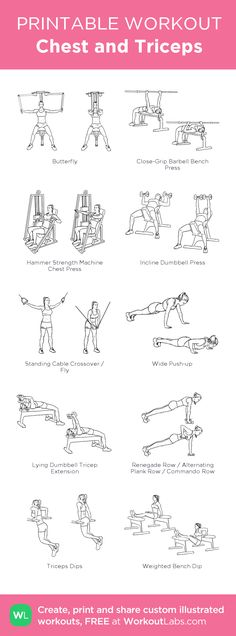 Chest and Triceps: my custom printable workout by Triceps Workout, Chest And Tricep Workout, Chest Workout Women, Chest Workouts, Gym Workouts, At Home Workouts, Bicep And Tricep Workout, Chest Exercises, Wod Workout