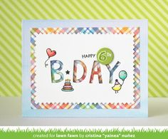 Lawn Fawn - Plan on It: Birthdays, Zig Zag Stackables, Finley's ABCs _ card by Yainea
