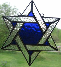 Pictures of suncatchers | Star of David Suncatcher [FPC1554] - $50.00 : Marilyn's Stained Glass ...