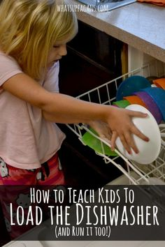 How to Teach Kids to Load the Dishwasher - Such an important life skill for raising preschoolers so they can start helping around the house and keeping things clean. #kids Best Parenting Tips