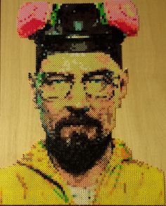 Heisenberg Breaking Bad handmade Walter White Portrait made out Perler beads (5983) by tanya1124