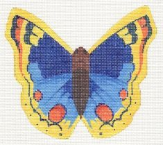 Blue and Yellow Butterfly Needlepoint Canvases, Butterfly Design, Beautiful Butterflies, Blue Yellow, Hand Painted, 8 Weeks, 3 Months, Artist, Projects