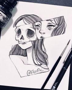 Trendy Ideas For Doodle Art Design Black Easy Pencil Drawings, Pencil Drawing Images, Dark Art Drawings, Unique Drawings, Art Drawings Sketches, Cute Drawings, Drawing Ideas, Tattoo Sketch Art, Hipster Drawings