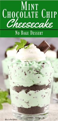 Mint Chocolate Chip No Bake Cheesecake is an easy dessert with about 10 minutes of prep! Perfect if you love Andes Mints and cheesecake! #nobakedesserts #cheesecake