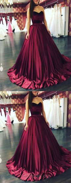 Burgundy Prom Dresses, Prom Ball Gowns, Ball Gown Prom Dresses, Sweetheart Prom Dresses Satin, Modest Prom Dresses For Girls #burgundy #ballgowns #prom
