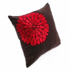 Red Pillow cover floral pillow flower embroidery decorative | Etsy White Decorative Pillows, Floral Pillows, Decorative Pillow Covers, Brown Pillow Covers, Brown Pillows, Couch Pillows, Floral Embroidery, Linen Fabric