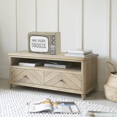 If your TV stand is a blot on the landscape why not switch over to this retro solid oak parquet creation? Pleated Curtains, Curtains With Blinds, Living Room Designs, Living Spaces, Living Rooms, Curtain Accessories, Pencil Pleat, Comfy Sofa, Guest Bed