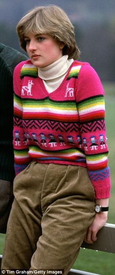 Then a young bride-to-be, Diana's colourful jumper looks gaudy in 2017