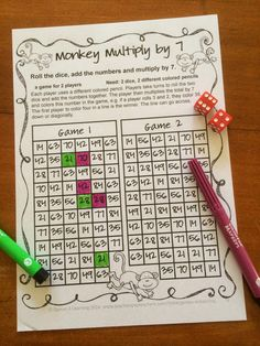 NO PREP Math Games Freebies. This one's a fun multiplication game. Roll 2 dice, add, then multiply.