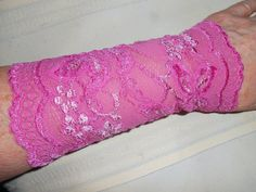 Cuffs Pink Stretch Lace - ONE PAIR - size Medium - Bright and Light Pink wrist wear, 6.5  inches long, gauntlet - #164 for special events by quiltandfabricitems. Explore more products on http://quiltandfabricitems.etsy.com