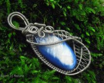 Silver wire wrapped pendant necklace Mother of pearl pendant Blue fantasy pendant Silver wire weaved jewelry Seashell pendant handmade OOAK