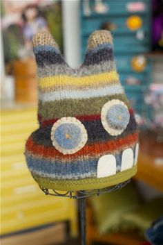 Upcycled Sweater Monster Hat multi color stripes with goofy teeth and ears! Old Sweater Crafts, Upcycled Sweater, Upcycled Clothing, Monster Hat, Monster Dolls, Revamp Clothes, Diy Clothes, Newborn Photo Props, Color Stripes