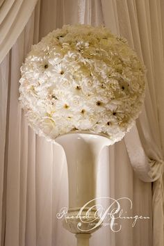 white topiary balls reception wedding flowers,  wedding decor, wedding flower centerpiece, wedding flower arrangement, add pic source on comment and we will update it. www.myfloweraffair.com can create this beautiful wedding flower look.