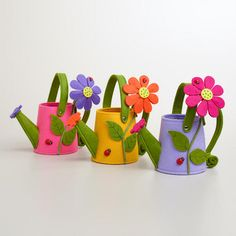 Felt Watering Can Containers, Set of 3