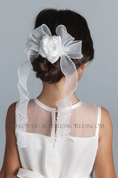 UA_V06 - Us Angels Floral Comb with Bow- Style V-06 - Hairbows - Flower Girl Dress For Less