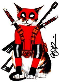 #Deadpool #Fan #Art. (Deadpool Cat) By: Scott Blair. (THE * 3 * STÅR * ÅWARD OF: AW YEAH, IT'S MAJOR ÅWESOMENESS!!!™) [THANK U 4 PINNING!!!<·><]<©>ÅÅÅ+(OB4E)    https://s-media-cache-ak0.pinimg.com/564x/e8/9b/db/e89bdb1d30b53d8dc8a611f8dab42a8c.jpg