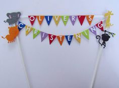 Cake Topper - Personalised  2 Row Bunting.  A Day At The Zoo Design - Made in any colour.  Perfect for  Birthdays & Special Occasions