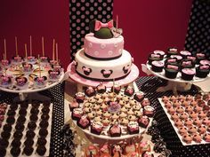 Pink Minnie Mouse Themed Birthday Party Dessert Table