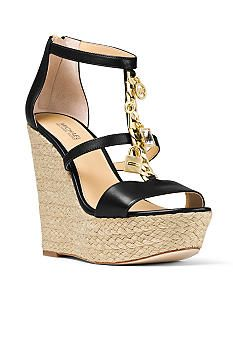 94ba9771e4b9 Michael Kors Cate Leather Platform Wedge Sandals ( 217) ❤ liked on ...