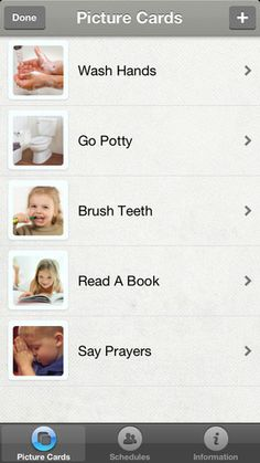 Picture Me Calm ($0.99 on 1/1/13) an easy to use visual scheduling system for non-typical and typical children. ✩ Create unlimited picture cards and schedules ✩ Relieve anxiety and provide positive support for your child Designed as a visual picture schedule for our daughter who has high functioning autism. Each child can have one or more visual schedules tailored to their needs and abilities with pictures of themselves performing the tasks.