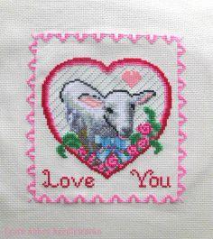 Sweet Valentine Lamb Original Cross Stitch by FearnAbbeyNeedlework, £6.00