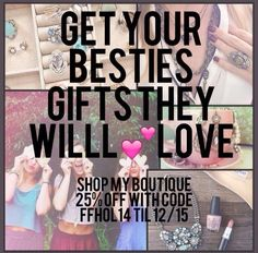Do your last minute Christmas shopping with Carrie's Chloe and Isabel Boutique!!! Now 25% off with FFHOL14 Friends and Family code! Shop www.chloeandisabel.com/boutique/carriecookeketterman#35443 to order!