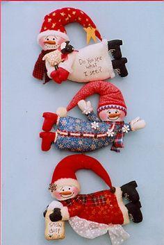 cloth doll pattern flying snowmen