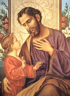 Saint Joseph...what a tender relationship he had with Jesus <3 ...his patronage includes: against doubt and hesitation, families, fathers, happy death, married people, pregnant women, travelers, unborn children, working people, Canada
