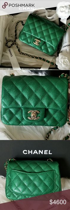 """CHANEL MINI SQUARE FLAP BAG EMERALD GREEN BRAND NEW %100 AUTHENTIC CHANEL SPRING SUMMER 2018 ACT 2 COLLECTION.  PURCHASED FROM PARIS. RARE FIND!!  Bag: Chanel Mini Square Flap Bag Material: CAVIAR LEATHER Hardware: Light Matte Gold Hardware Color: EMERALD GREEN Condition:BRAND NEW  Serial numberin interior corner Comes with: Authenticity card, box and sleeper Measures: 7"""" length x 4.5"""" height x 2"""" width Strap Drop: 22"""" CHANEL Bags Crossbody Bags"""