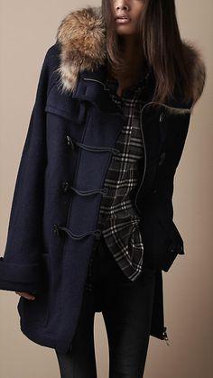 Fur Trim Knitted Duffle Coat | Burberry