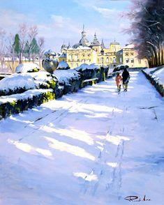 Ricardo Sanz – Nieve en La Granja Óleo sobre lienzo. 81×65 cms.