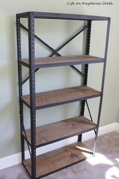 4 Simple Tips and Tricks: Industrial Lamp Steel industrial living room home office.Industrial Desk L Shape industrial bookshelf fireplace. Diy Industrial Bookshelf, Diy Industrial Interior, Industrial Design Furniture, Bookshelf Styling, Metal Shelves, Industrial House, Industrial Style, Diy Furniture, Bookshelf Diy