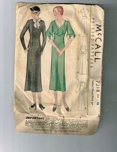 McCall 7218 | ca. 1933 Ladies' & Misses' Dress