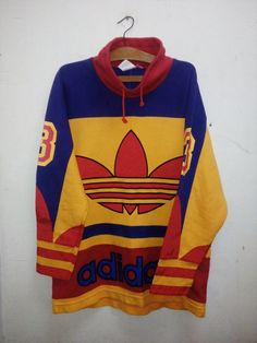 Sale Rare!! Vintage 90's Adidas Trefoil Big Logo Crewneck Sweater Designed Men Women Colorfull hip hop Run DMC era Casual Style Sz L by MalayaThriftZone on Etsy