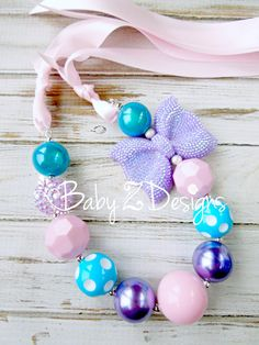 Pink Turquiose and Lavender Rhinestone Bow Satin  chunky Necklace by babyzdesigns